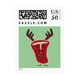 Happy T-Bone Steak Reindeer red nose Christmas Postage