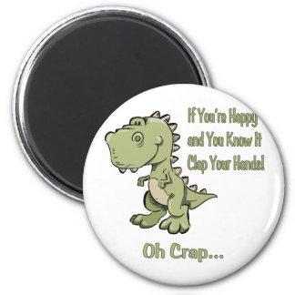 Happy T-Rex 2 Inch Round Magnet