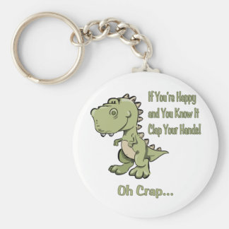 Happy T-Rex Basic Round Button Keychain