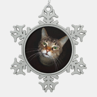 Happy Tabby Wiskers Snowflake Pewter Christmas Ornament
