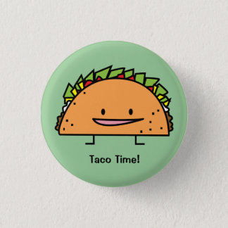 Happy Taco corn shell beef meat salsa Mexican food Button