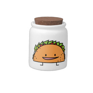 Happy Taco corn shell beef meat salsa Mexican food Candy Jar