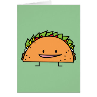Happy Taco corn shell beef meat salsa Mexican food Card