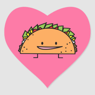 Happy Taco corn shell beef meat salsa Mexican food Heart Sticker
