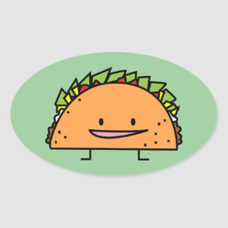 Happy Taco corn shell beef meat salsa Mexican food Oval Sticker