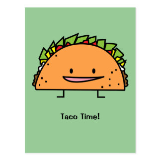 Happy Taco corn shell beef meat salsa Mexican food Postcard