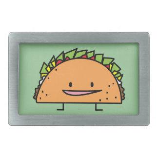 Happy Taco corn shell beef meat salsa Mexican food Rectangular Belt Buckle