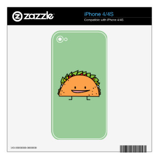 Happy Taco corn shell beef meat salsa Mexican food Skins For iPhone 4
