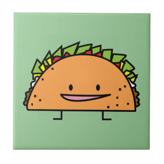 Happy Taco corn shell beef meat salsa Mexican food Tile