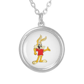 Happy Tawny Colored Cartoon Rabbit in Red T-Shirt Necklaces
