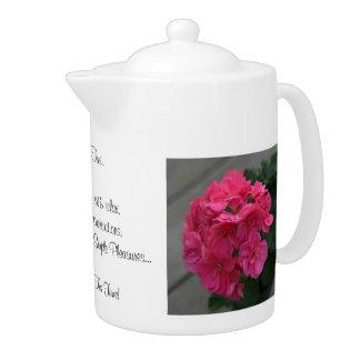 Happy Tea Time Quote Rose Geranium  44oz.  Teapot
