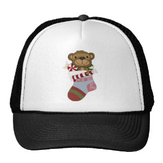 Happy Teddy Bear and Candy in Christmas Stocking Trucker Hat