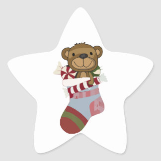 Happy Teddy Bear and Candy in Christmas Stocking Star Sticker