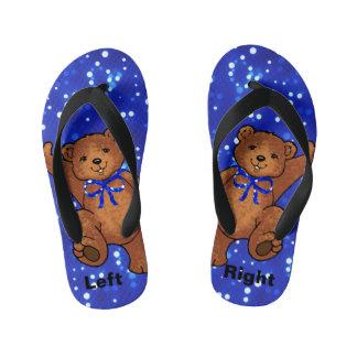 Happy Teddy Bear Blue Light Kid's Flip Flops