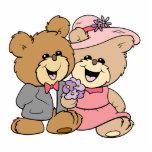 happy teddy bear couple design photo cutout