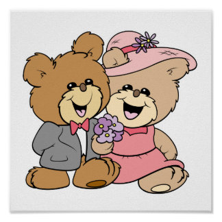 happy teddy bear couple design poster