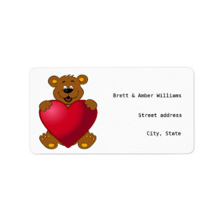 Happy teddybear with heart cartoon address labels