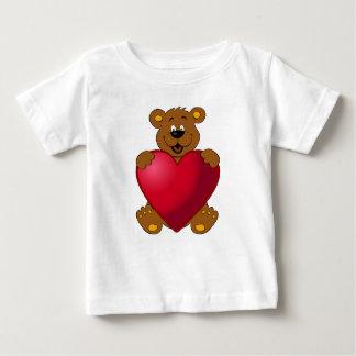 Happy teddybear with heart cartoon baby girl shirt