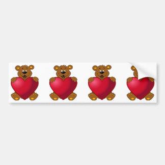 Happy teddybear with heart cartoon bumper sticker