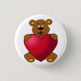 Happy teddybear with heart cartoon button