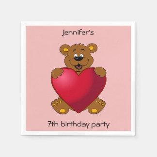 Happy teddybear with heart cartoon girl birthday paper napkin