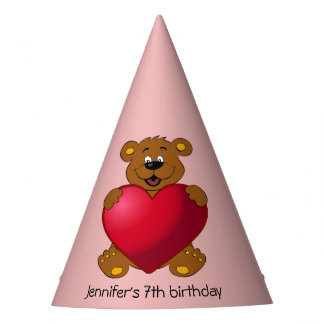 Happy teddybear with heart cartoon girl birthday party hat