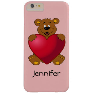 Happy teddybear with heart cartoon girls barely there iPhone 6 plus case