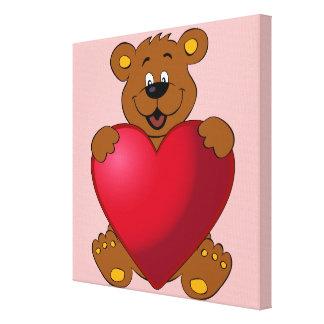 Happy teddybear with heart cartoon girls canvas print