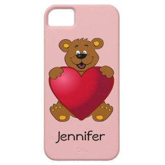 Happy teddybear with heart cartoon girls iPhone SE/5/5s case