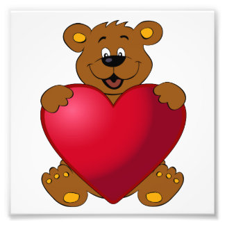 Happy teddybear with heart cartoon girls photo print