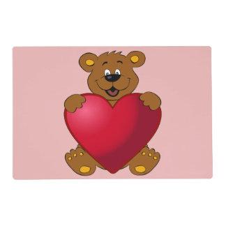 Happy teddybear with heart cartoon girls placemat