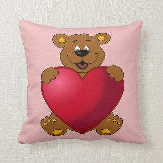 Happy teddybear with heart cartoon girls throw pillow