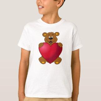 Happy teddybear with heart cartoon kids shirt
