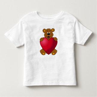 Happy teddybear with heart cartoon toddler t-shirt