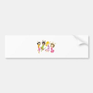 Happy Teenage Girls Jumping Cartoon Bumper Sticker