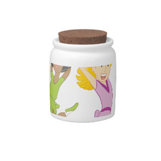 Happy Teenage Girls Jumping Cartoon Candy Dish
