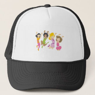 Happy Teenage Girls Jumping Cartoon Trucker Hat