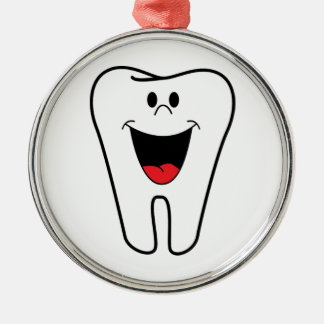 Happy teeth customizable for your Dental practice Round Metal Christmas Ornament