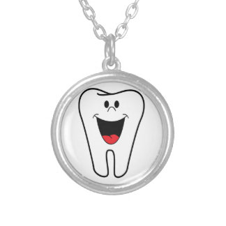 Happy teeth customizable for your Dental practice Round Pendant Necklace