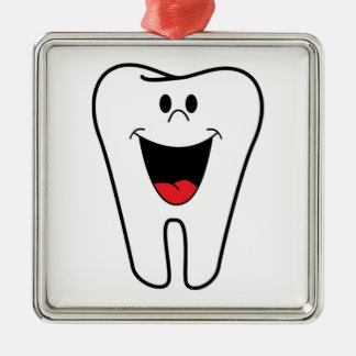 Happy teeth customizable for your Dental practice Square Metal Christmas Ornament