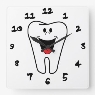 Happy teeth customizable for your Dental practice Square Wall Clock