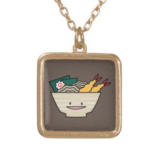 Happy Tempura Ramen Bowl Square Pendant Necklace