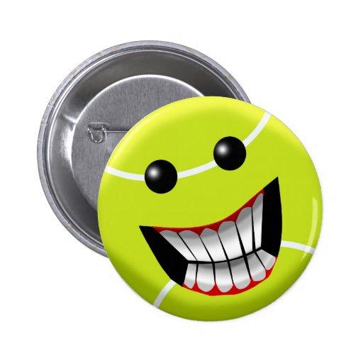 HAPPY TENNIS BALL PINBACK BUTTON