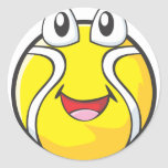 Happy Tennis Ball Classic Round Sticker