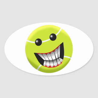 HAPPY TENNIS BALL OVAL STICKER