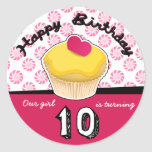 Happy Tenth (10th) Birthday Cupcake Stickers!