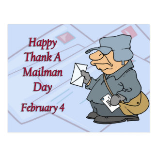 Happy Thank a Mailman Day February 4 Postcard