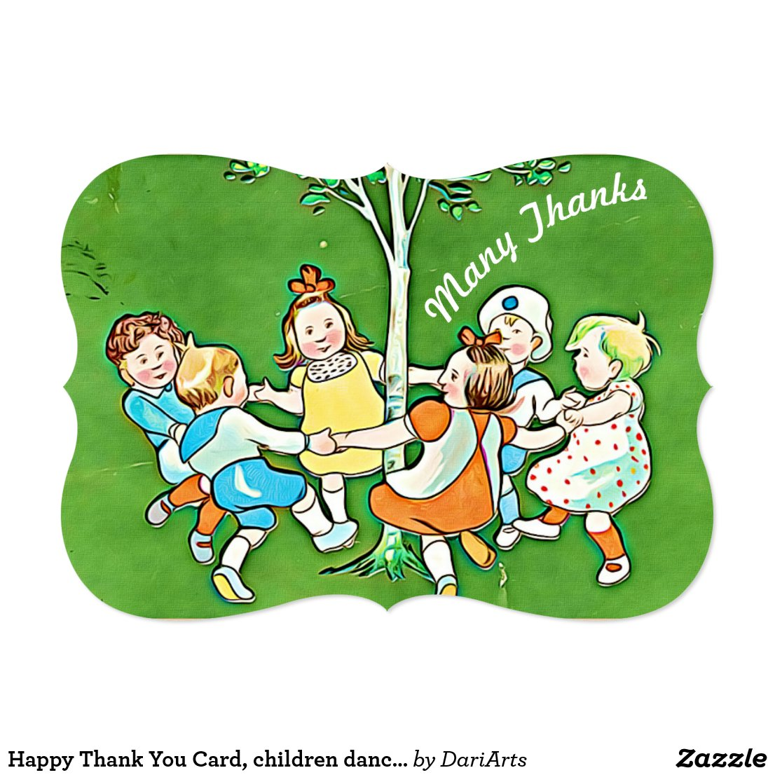 Happy Thank You Card, children dancing around tree Card