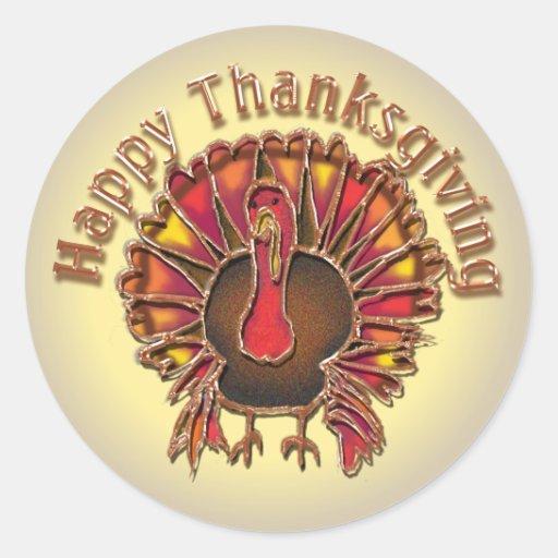 HAPPY THANKGIVING TURKEY by SHARON SHARPE Round Sticker