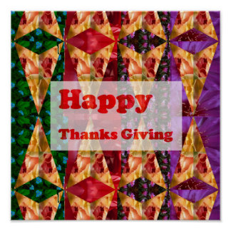 HAPPY THANKS GIVING DAY Artistic Script Poster